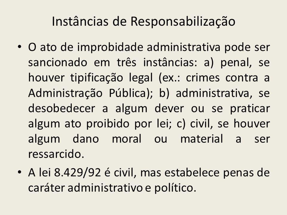 Instâncias de Responsabilização O ato de improbidade administrativa pode ser sancionado em três instâncias: a) penal, se houver tipificação legal (ex.
