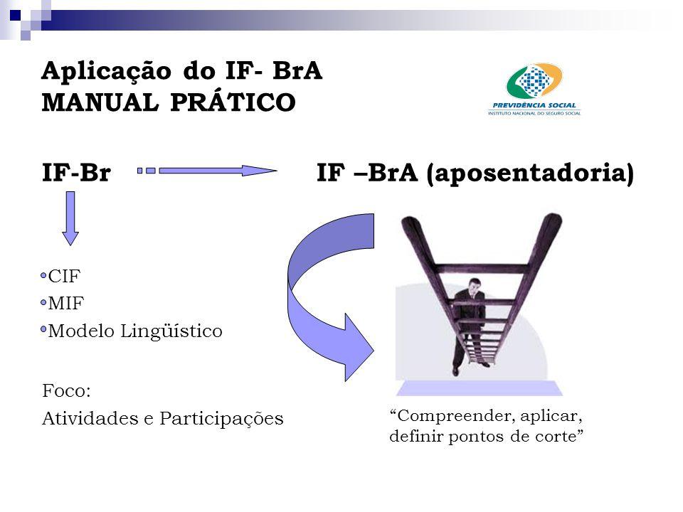 """Aplicação do IF- BrA MANUAL PRÁTICO IF-Br IF –BrA (aposentadoria) CIF MIF Modelo Lingüístico Foco: Atividades e Participações """"Compreender, aplicar, d"""
