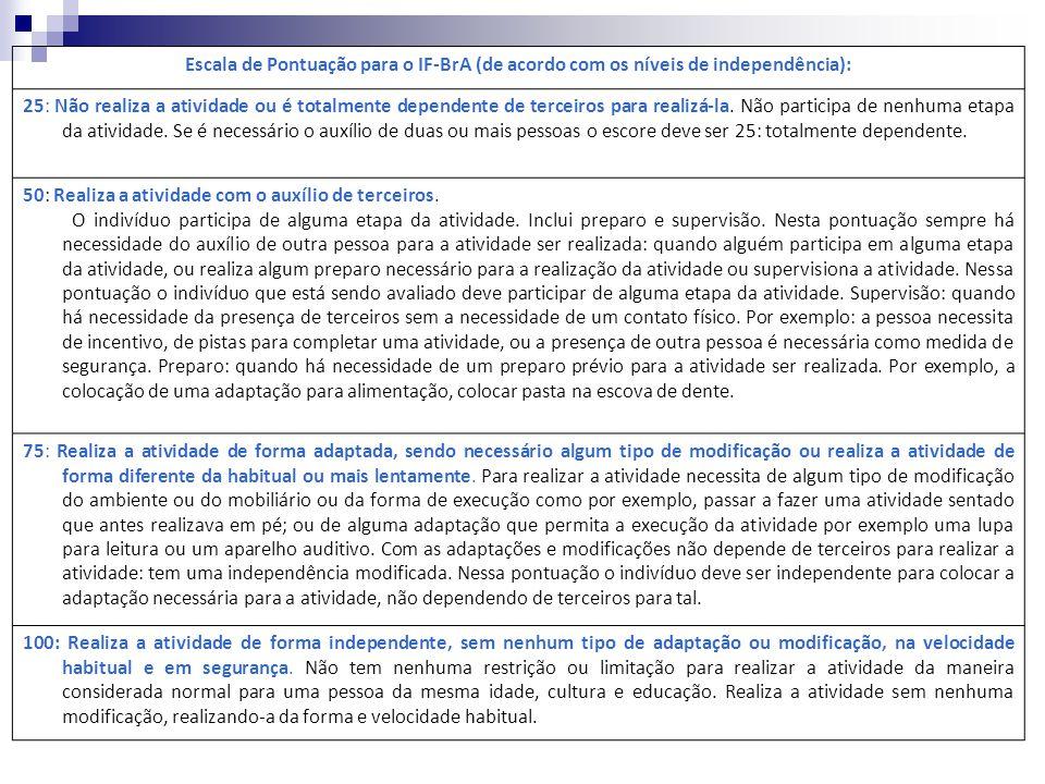 Quadro 1: Escala de Pontuação do IF-BrA Escala de Pontuação para o IF-BrA (de acordo com os níveis de independência): 25: Não realiza a atividade ou é