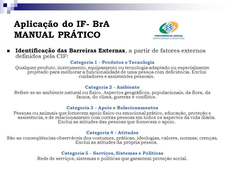 Aplicação do IF- BrA MANUAL PRÁTICO Identificação das Barreiras Externas, a partir de fatores externos definidos pela CIF: Categoria 1 - Produtos e Te