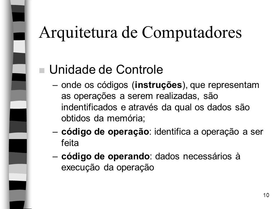 10 Arquitetura de Computadores n Unidade de Controle –onde os códigos (instruções), que representam as operações a serem realizadas, são indentificados e através da qual os dados são obtidos da memória; –código de operação: identifica a operação a ser feita –código de operando: dados necessários à execução da operação