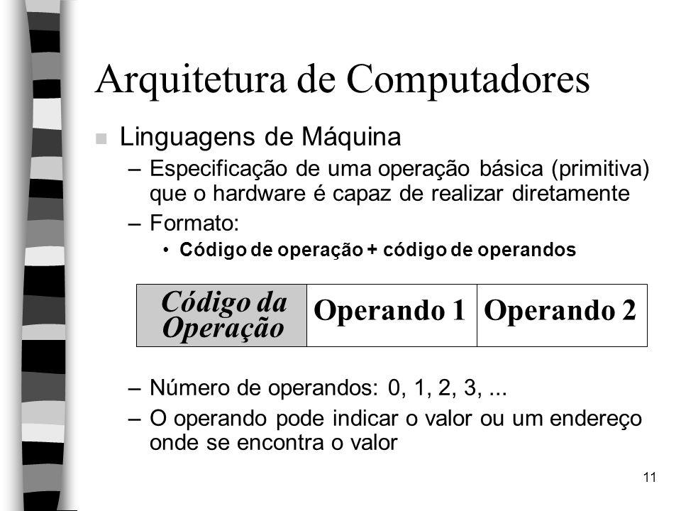 11 Arquitetura de Computadores n Linguagens de Máquina –Especificação de uma operação básica (primitiva) que o hardware é capaz de realizar diretamente –Formato: Código de operação + código de operandos –Número de operandos: 0, 1, 2, 3,...