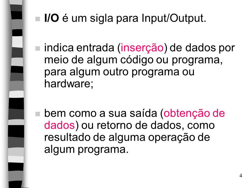 4 n I/O é um sigla para Input/Output.