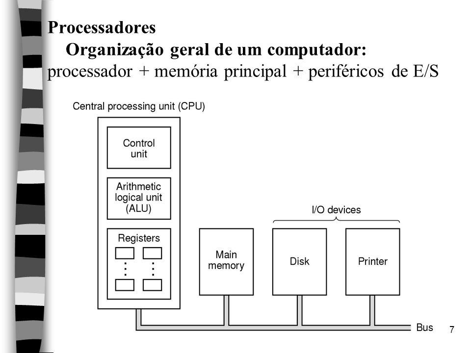 7 Processadores Organização geral de um computador: processador + memória principal + periféricos de E/S