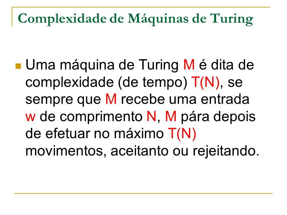 Complexidade de Máquinas de Turing Uma máquina de Turing M é dita de complexidade (de tempo) T(N), se sempre que M recebe uma entrada w de comprimento