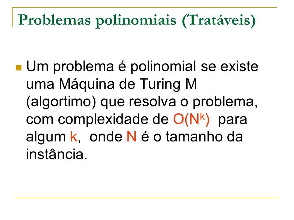 Problemas polinomiais (Tratáveis) Um problema é polinomial se existe uma Máquina de Turing M (algortimo) que resolva o problema, com complexidade de O