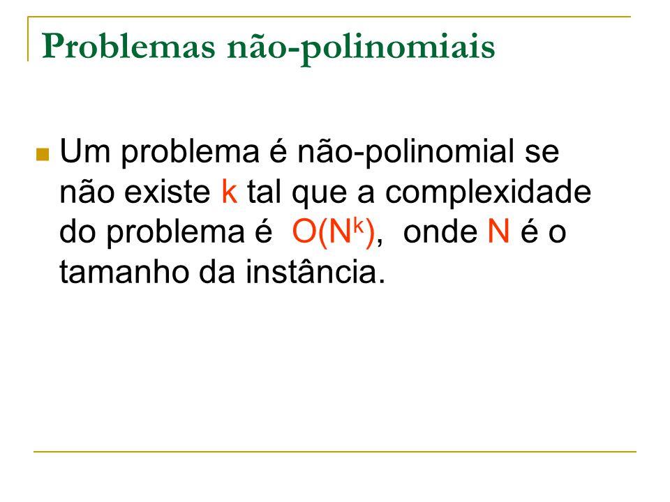 Problemas não-polinomiais Um problema é não-polinomial se não existe k tal que a complexidade do problema é O(N k ), onde N é o tamanho da instância.