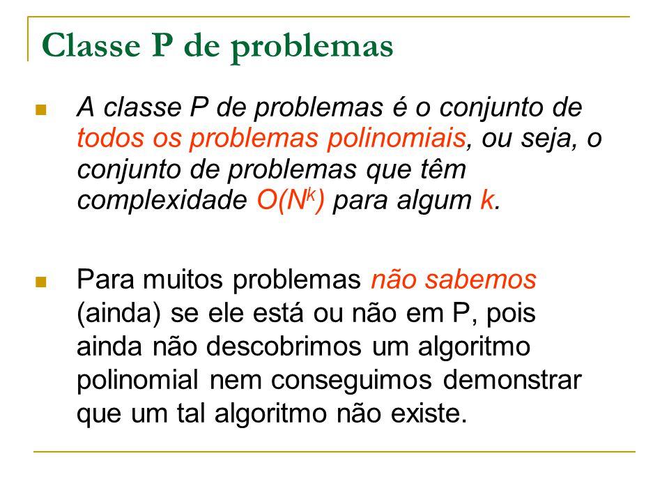 Classe P de problemas A classe P de problemas é o conjunto de todos os problemas polinomiais, ou seja, o conjunto de problemas que têm complexidade O(