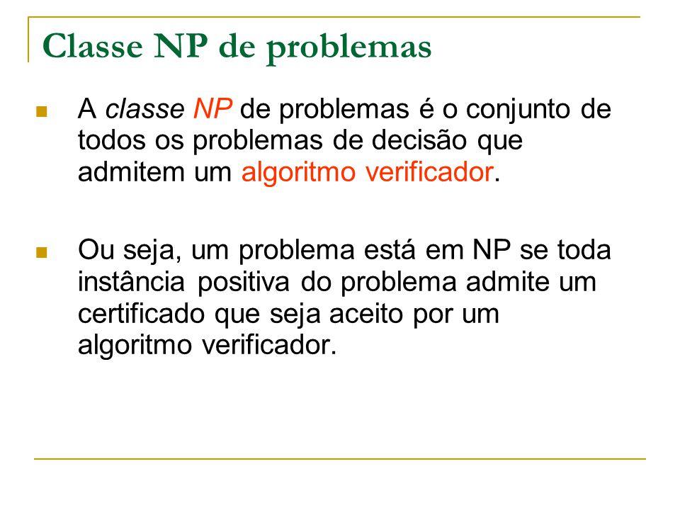Classe NP de problemas A classe NP de problemas é o conjunto de todos os problemas de decisão que admitem um algoritmo verificador. Ou seja, um proble