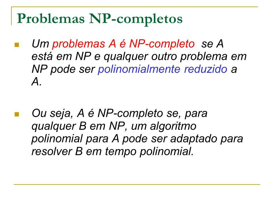 Problemas NP-completos Um problemas A é NP-completo se A está em NP e qualquer outro problema em NP pode ser polinomialmente reduzido a A. Ou seja, A