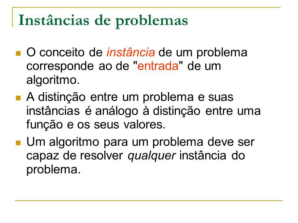 Tamanho de uma instância O tamanho de uma instância de um problema é comprimento da cadeia de caracteres que defina a instância ou pela quantidades de valores da instância.