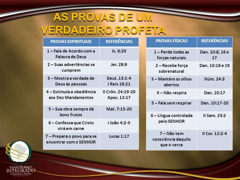 AS PROVAS DE UM VERDADEIRO PROFETA PROVAS ESPIRITUAISREFERÊNCIAS 1 – Fala de Acordo com a Palavra de Deus Is. 8:20 2 – Suas advertências se cumprem Je
