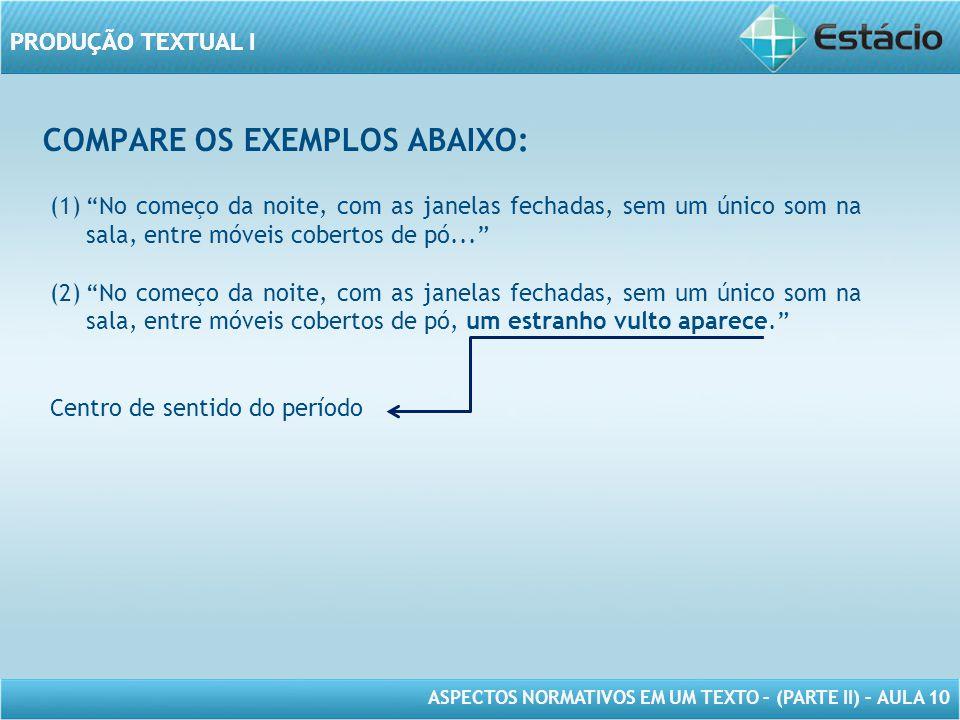 PRODUÇÃO TEXTUAL I ASPECTOS NORMATIVOS EM UM TEXTO – (PARTE II) – AULA 10 PRODUÇÃO TEXTUAL I VAMOS PRATICAR.