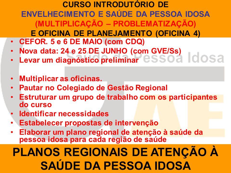 CURSO INTRODUTÓRIO DE ENVELHECIMENTO E SAÚDE DA PESSOA IDOSA (MULTIPLICAÇÃO – PROBLEMATIZAÇÃO) E OFICINA DE PLANEJAMENTO (OFICINA 4) CEFOR.