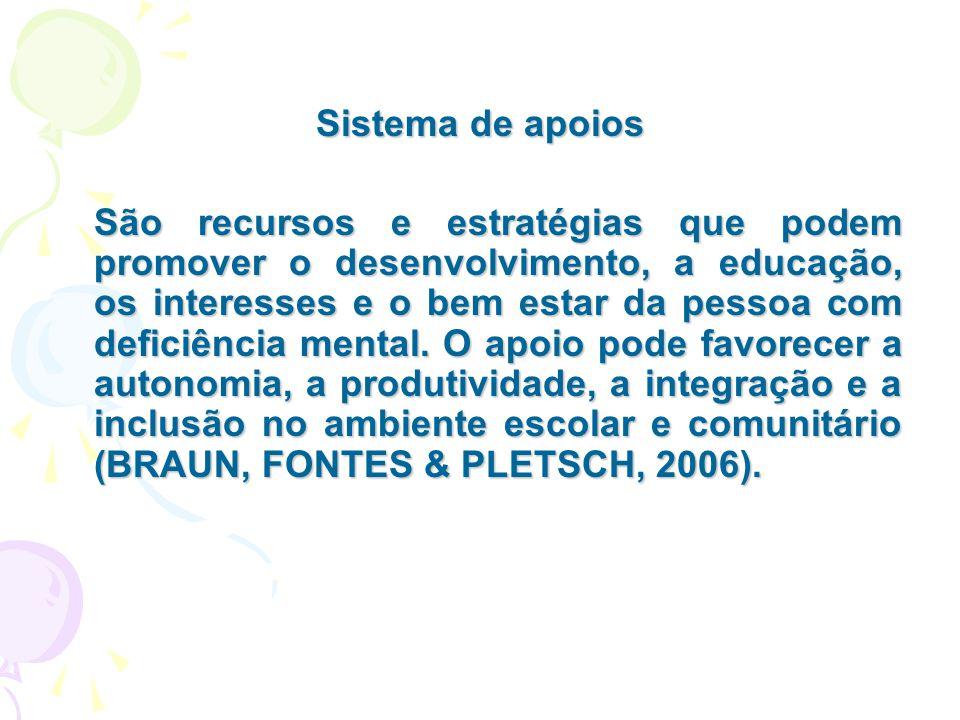 Sistema de apoios São recursos e estratégias que podem promover o desenvolvimento, a educação, os interesses e o bem estar da pessoa com deficiência m