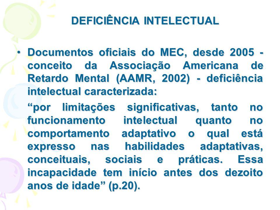 DEFICIÊNCIA INTELECTUAL Documentos oficiais do MEC, desde 2005 - conceito da Associação Americana de Retardo Mental (AAMR, 2002) - deficiência intelec