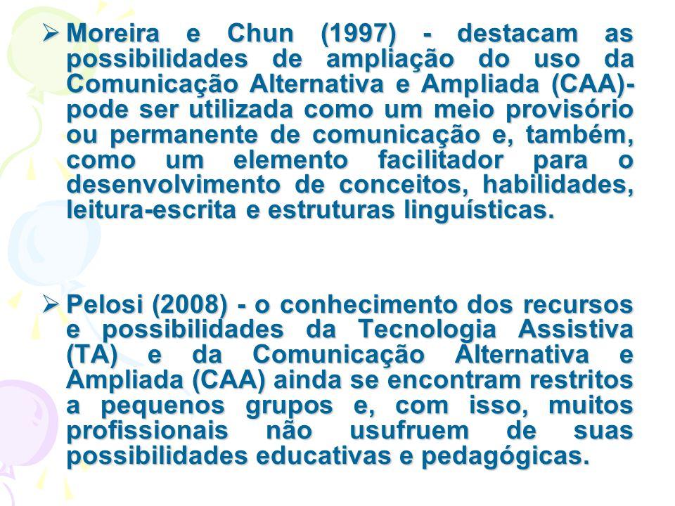  Moreira e Chun (1997) - destacam as possibilidades de ampliação do uso da Comunicação Alternativa e Ampliada (CAA)- pode ser utilizada como um meio