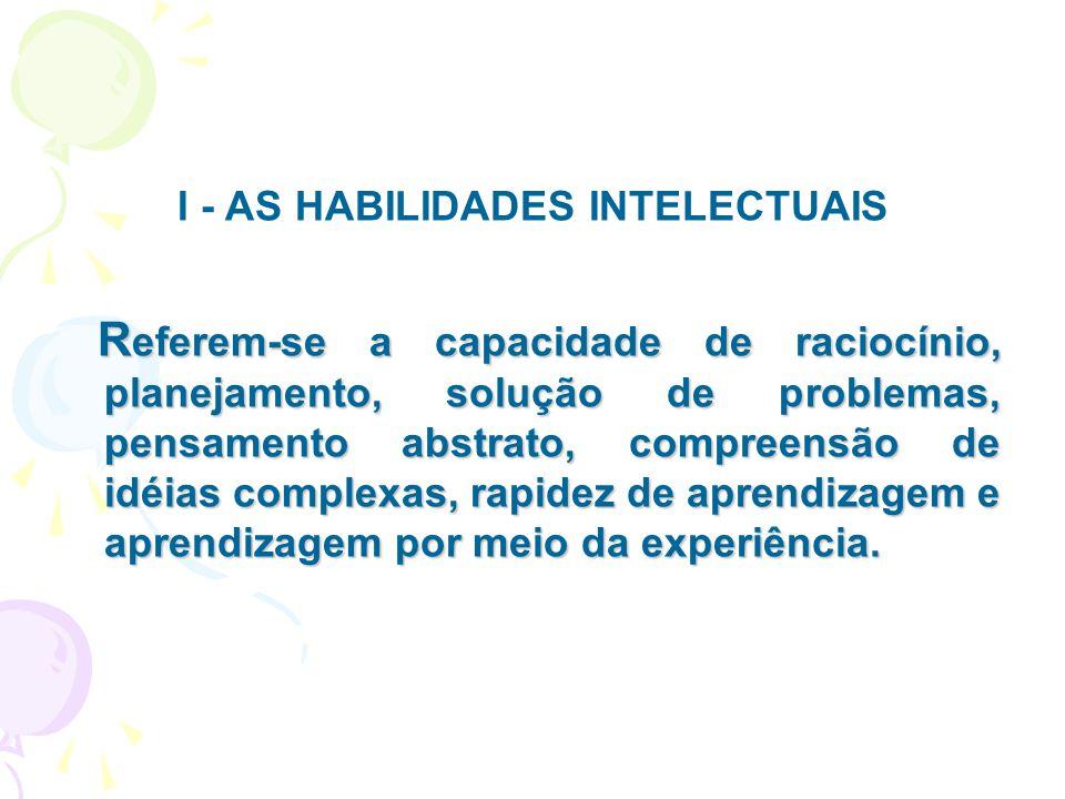 I - AS HABILIDADES INTELECTUAIS R eferem-se a capacidade de raciocínio, planejamento, solução de problemas, pensamento abstrato, compreensão de idéias
