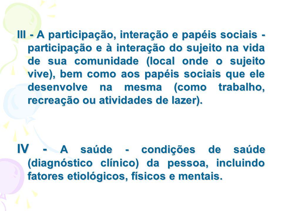 III - A participação, interação e papéis sociais - participação e à interação do sujeito na vida de sua comunidade (local onde o sujeito vive), bem co
