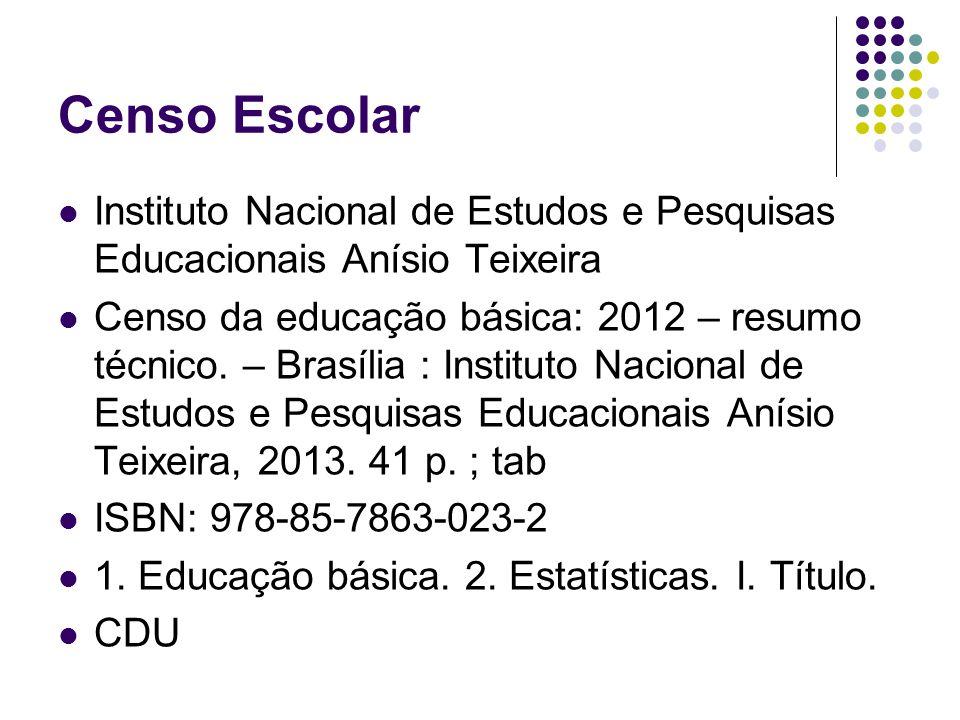 Censo Escolar Instituto Nacional de Estudos e Pesquisas Educacionais Anísio Teixeira Censo da educação básica: 2012 – resumo técnico. – Brasília : Ins