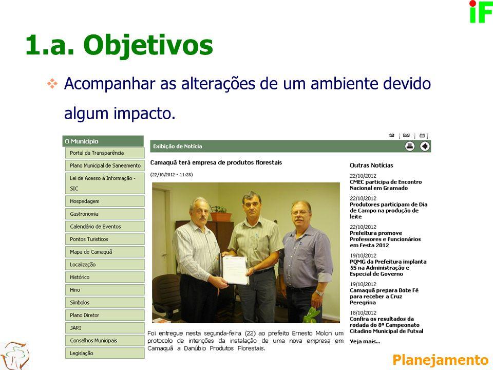1.a. Objetivos  Acompanhar as alterações de um ambiente devido algum impacto. Planejamento