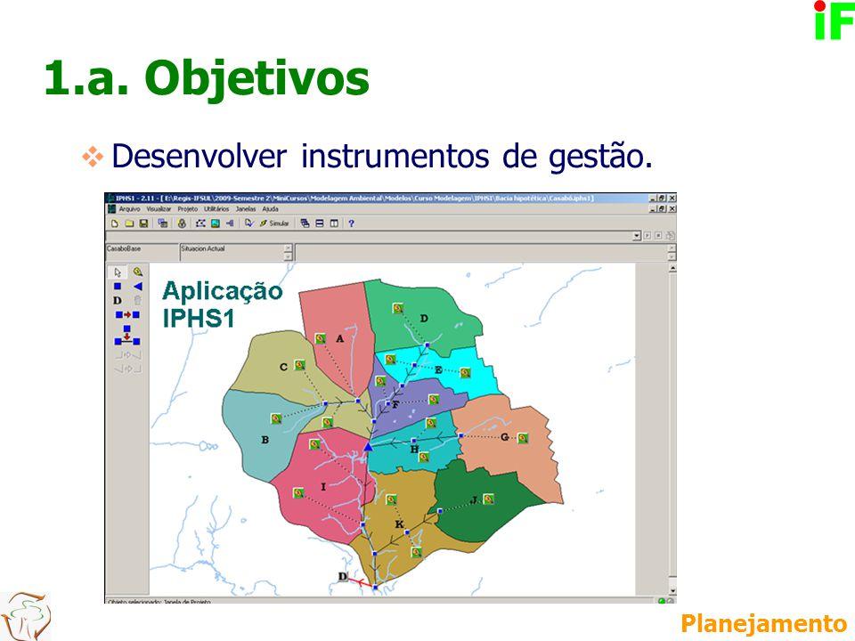 1.a. Objetivos  Desenvolver instrumentos de gestão. Planejamento