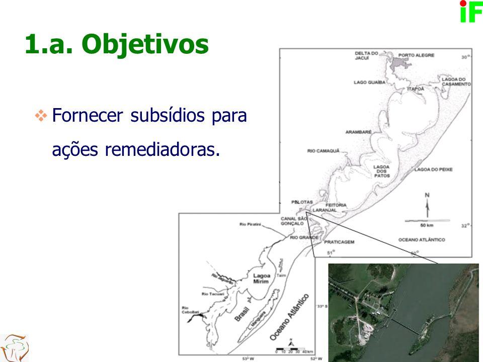 1.a. Objetivos  Fornecer subsídios para ações remediadoras.