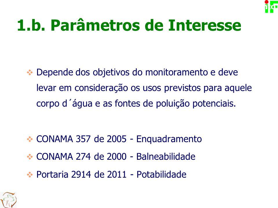 1.b. Parâmetros de Interesse  Depende dos objetivos do monitoramento e deve levar em consideração os usos previstos para aquele corpo d´água e as fon