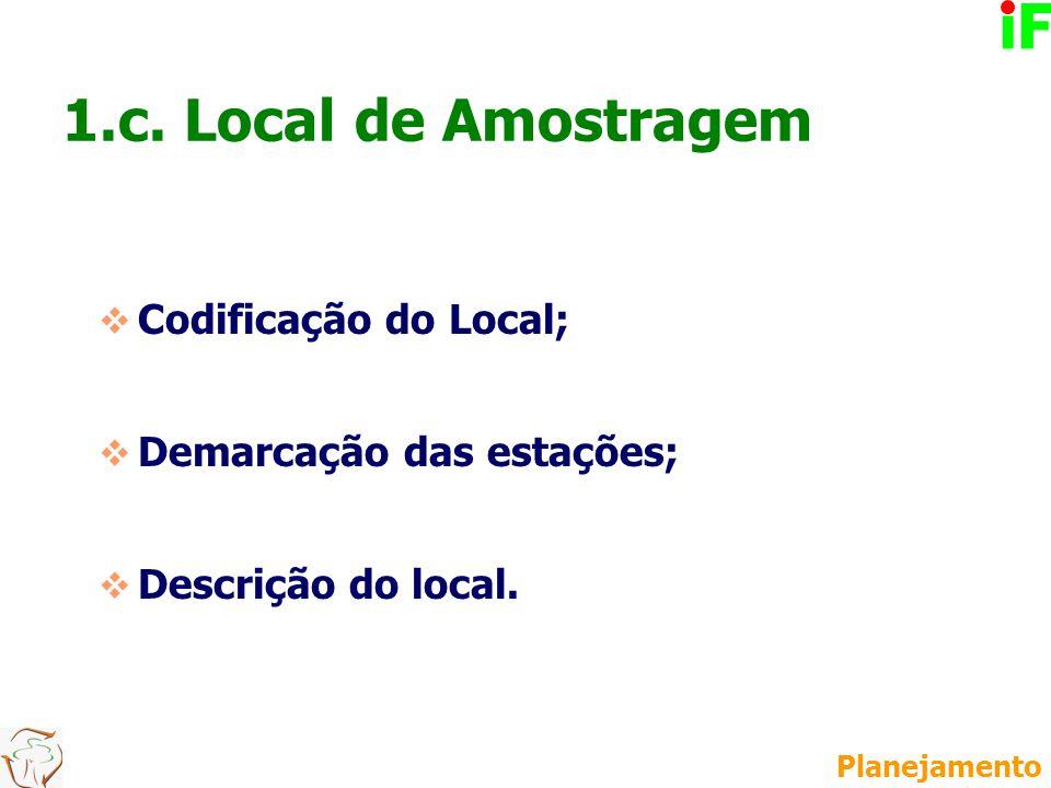 Codificação do Local;  Demarcação das estações;  Descrição do local. 1.c. Local de Amostragem Planejamento