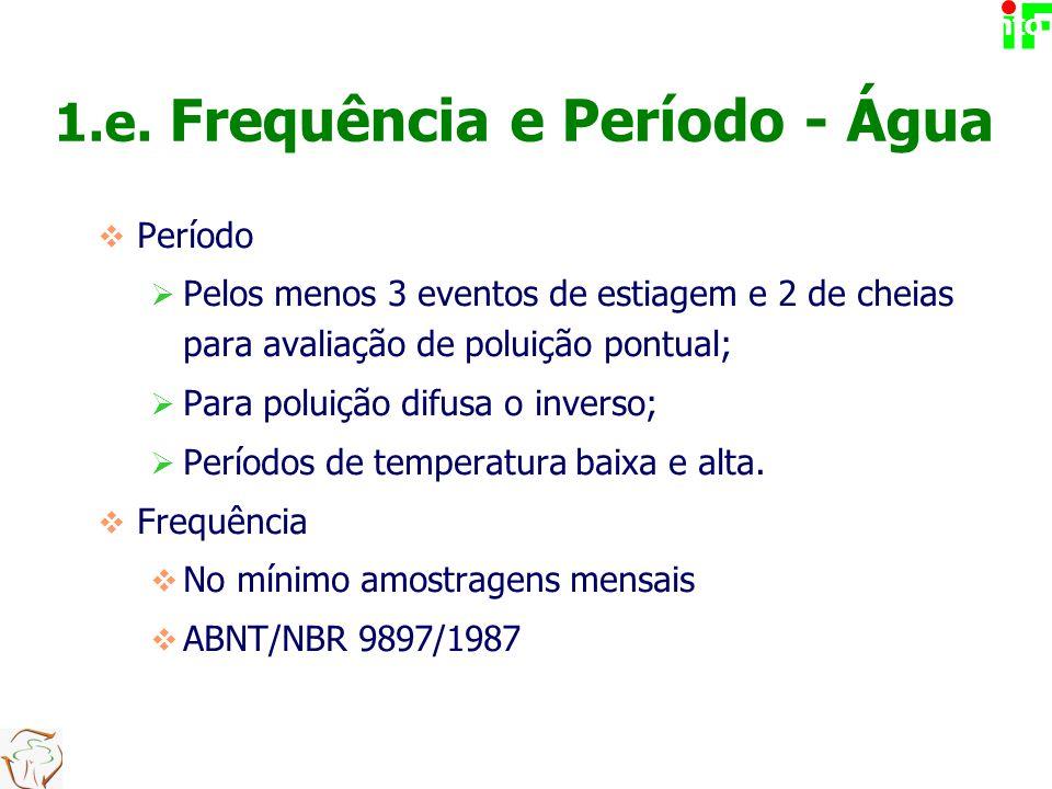  Período  Pelos menos 3 eventos de estiagem e 2 de cheias para avaliação de poluição pontual;  Para poluição difusa o inverso;  Períodos de temper