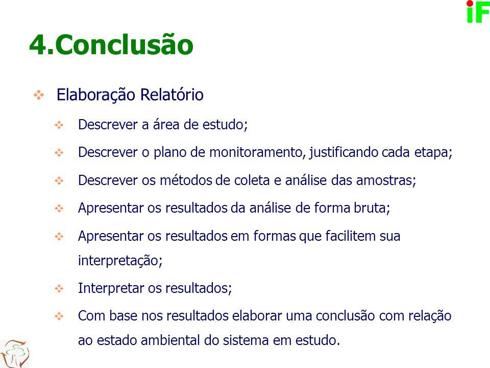 4.Conclusão  Elaboração Relatório  Descrever a área de estudo;  Descrever o plano de monitoramento, justificando cada etapa;  Descrever os métodos