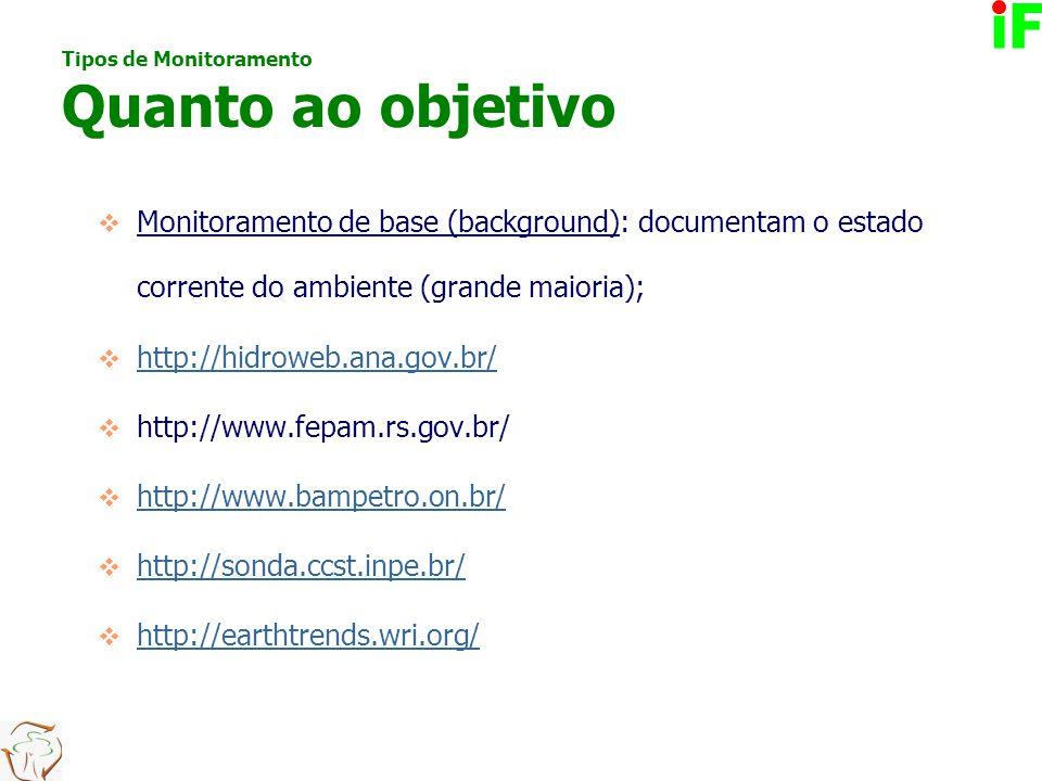  Monitoramento de base (background): documentam o estado corrente do ambiente (grande maioria);  http://hidroweb.ana.gov.br/ http://hidroweb.ana.gov