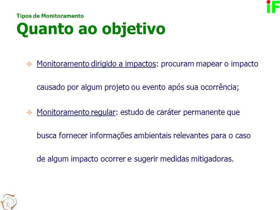  Monitoramento dirigido a impactos: procuram mapear o impacto causado por algum projeto ou evento após sua ocorrência;  Monitoramento regular: estud