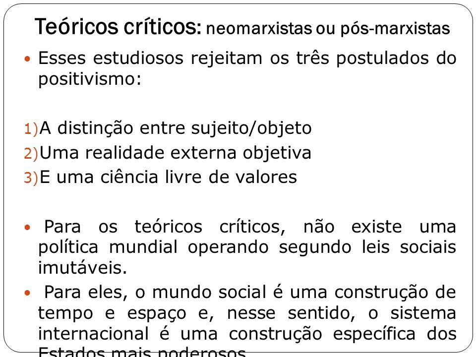 Teóricos críticos : neomarxistas ou pós-marxistas Esses estudiosos rejeitam os três postulados do positivismo: 1) A distinção entre sujeito/objeto 2)