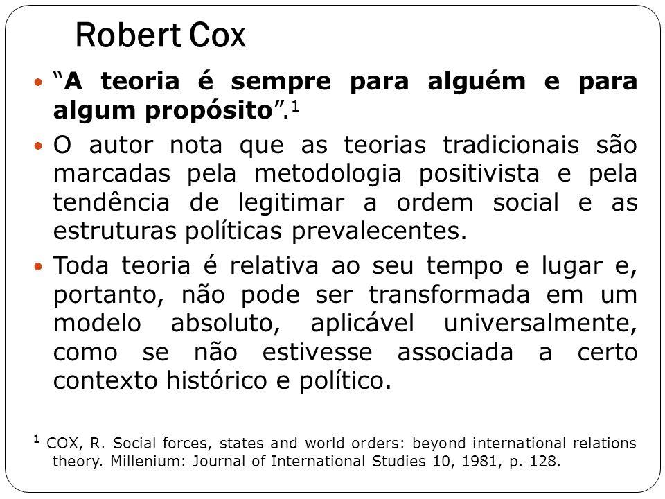 """Robert Cox """"A teoria é sempre para alguém e para algum propósito"""". 1 O autor nota que as teorias tradicionais são marcadas pela metodologia positivist"""
