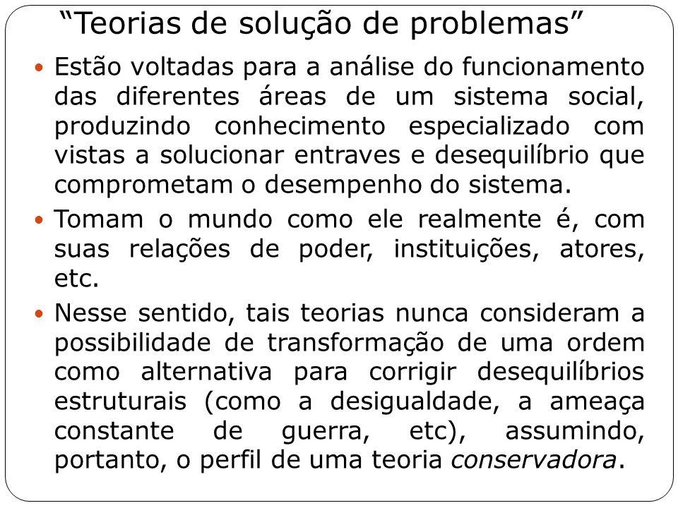 """""""Teorias de solução de problemas"""" Estão voltadas para a análise do funcionamento das diferentes áreas de um sistema social, produzindo conhecimento es"""