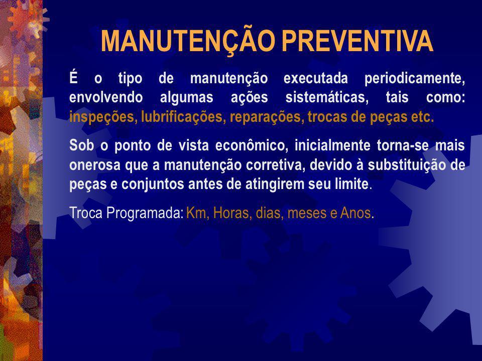 MANUTENÇÃO PREVENTIVA É o tipo de manutenção executada periodicamente, envolvendo algumas ações sistemáticas, tais como: inspeções, lubrificações, rep