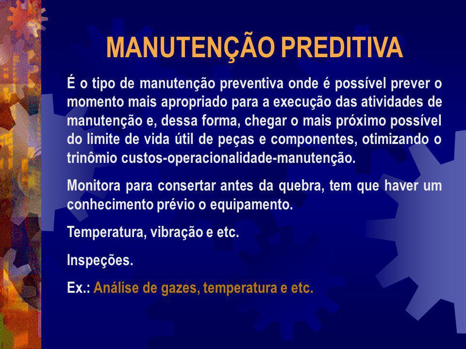 MANUTENÇÃO PREDITIVA É o tipo de manutenção preventiva onde é possível prever o momento mais apropriado para a execução das atividades de manutenção e