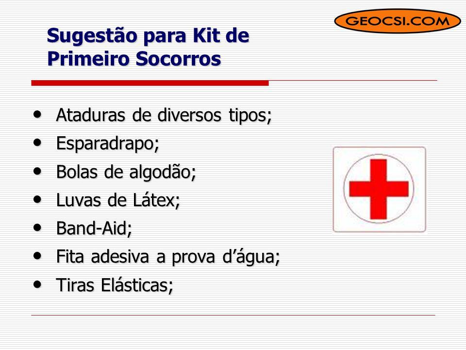 Sugestão para Kit de Primeiro Socorros  Gaze  Agulhas e fios  Lente de aumento ( Lupa)  Aspirina ou similar  Tesoura  Sabão Neutro
