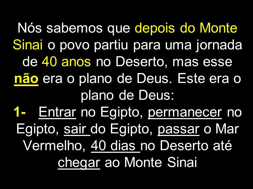 Nós sabemos que depois do Monte Sinai o povo partiu para uma jornada de 40 anos no Deserto, mas esse não era o plano de Deus.
