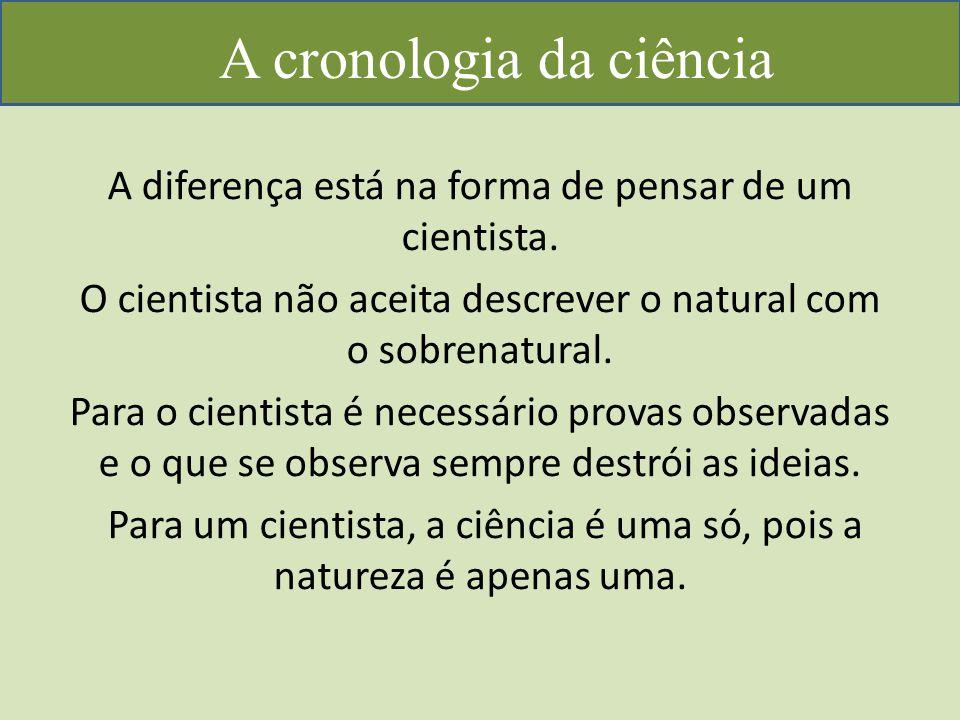A cronologia da ciência A diferença está na forma de pensar de um cientista.