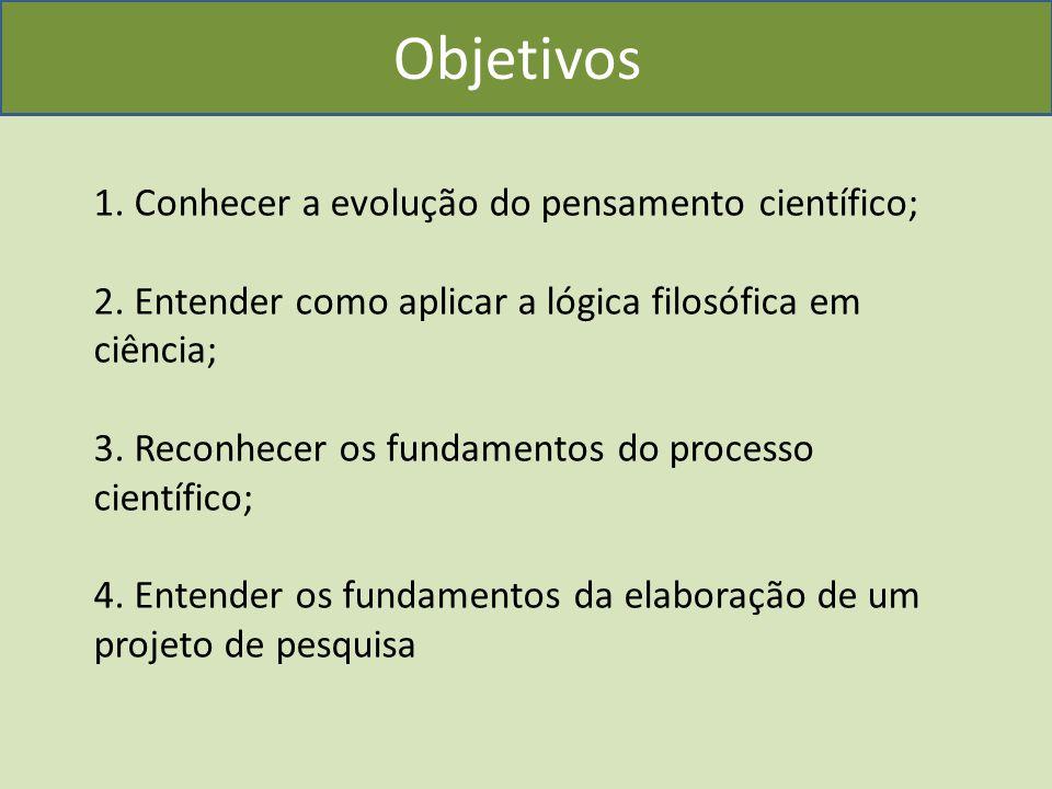 1. Conhecer a evolução do pensamento científico; 2.