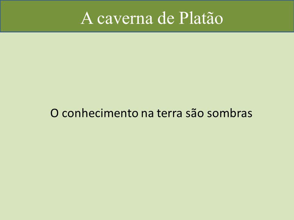 A caverna de Platão O conhecimento na terra são sombras