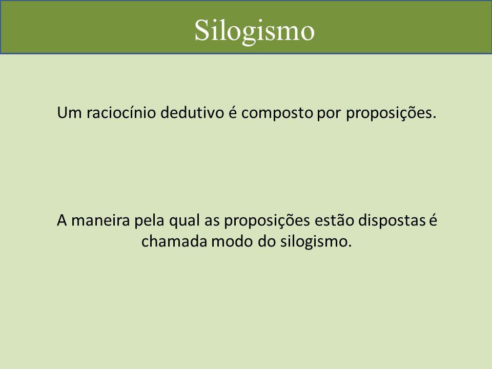 Silogismo Um raciocínio dedutivo é composto por proposições.