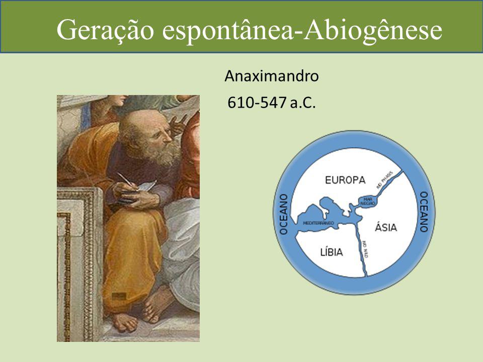 Geração espontânea-Abiogênese Anaximandro 610-547 a.C.