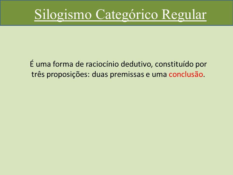 Silogismo Categórico Regular É uma forma de raciocínio dedutivo, constituído por três proposições: duas premissas e uma conclusão.