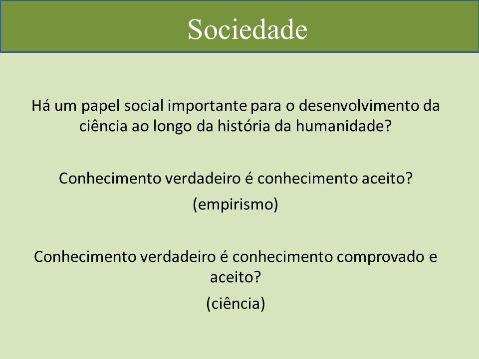 Sociedade Há um papel social importante para o desenvolvimento da ciência ao longo da história da humanidade.
