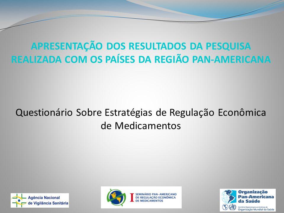 APRESENTAÇÃO DOS RESULTADOS DA PESQUISA REALIZADA COM OS PAÍSES DA REGIÃO PAN-AMERICANA Questionário Sobre Estratégias de Regulação Econômica de Medicamentos