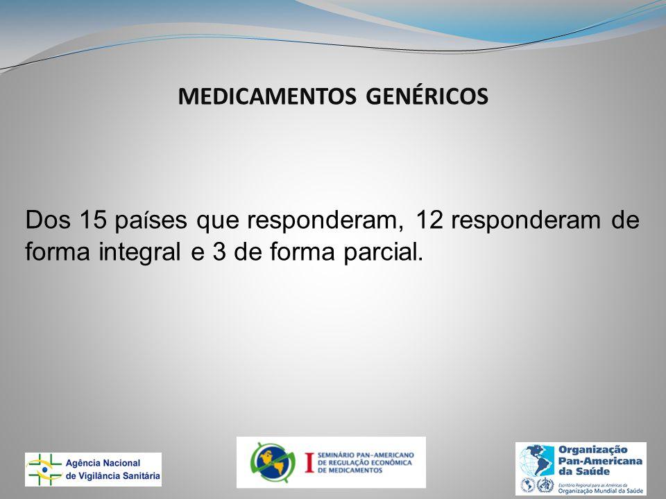 MEDICAMENTOS GENÉRICOS Dos 15 pa í ses que responderam, 12 responderam de forma integral e 3 de forma parcial.