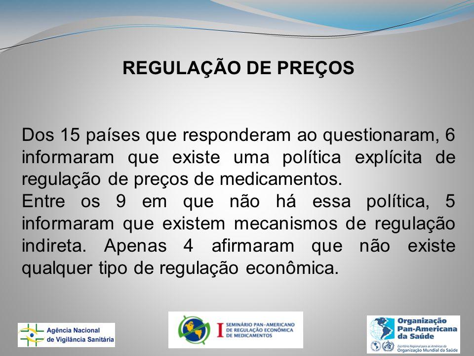 REGULAÇÃO DE PREÇOS Dos 15 países que responderam ao questionaram, 6 informaram que existe uma política explícita de regulação de preços de medicamentos.